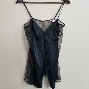 Silk & Lace Babydoll Chemise Black Polka Dotted